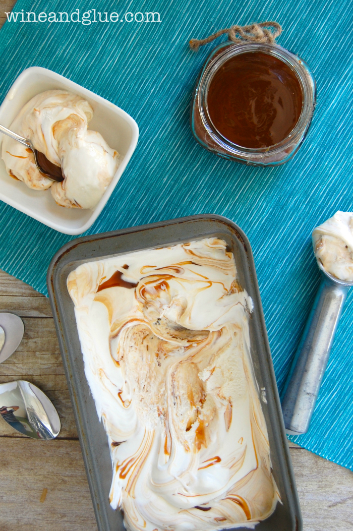 No Machine Caramel Swirl Ice Cream |  This rich, creamy, delicious ice cream only has three ingredients and doesn't need an ice cream machine! via www.wineandglue.com