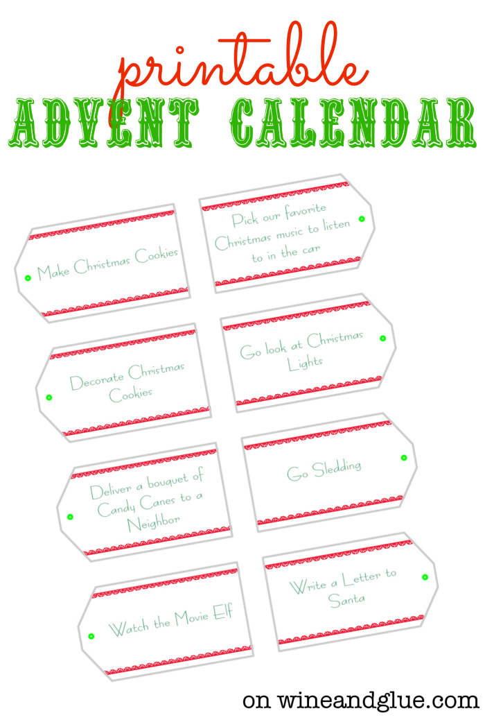 Diy Advent Calendar Printables : Diy advent calendar wine glue
