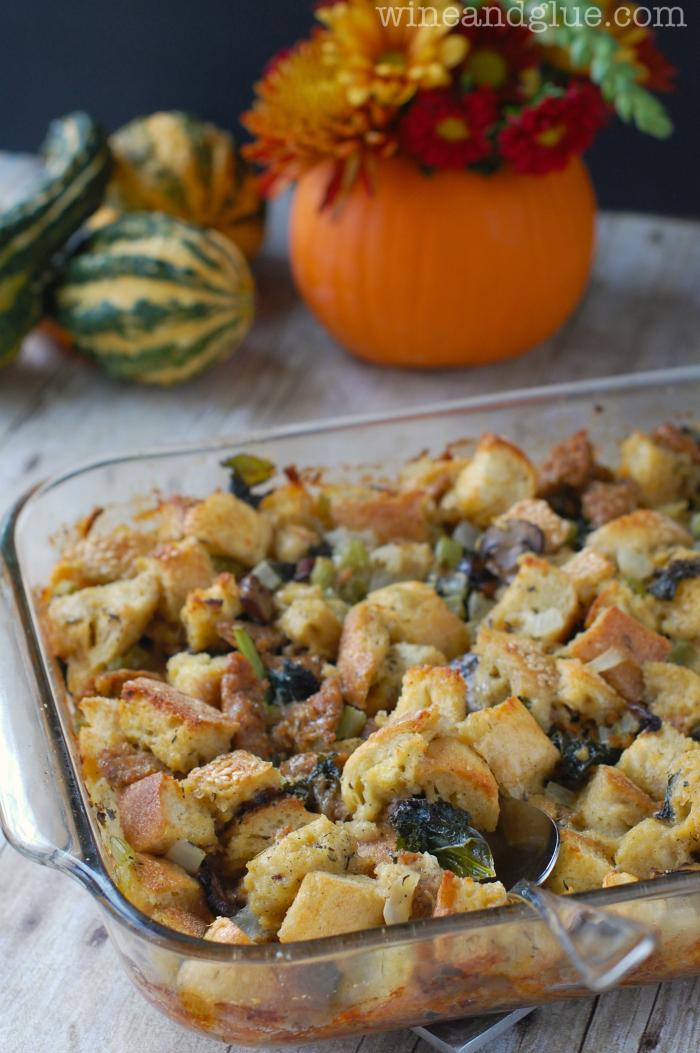 Mushroom & Kale Sausage Stuffing | Addictive stuffing recipe! via www ...