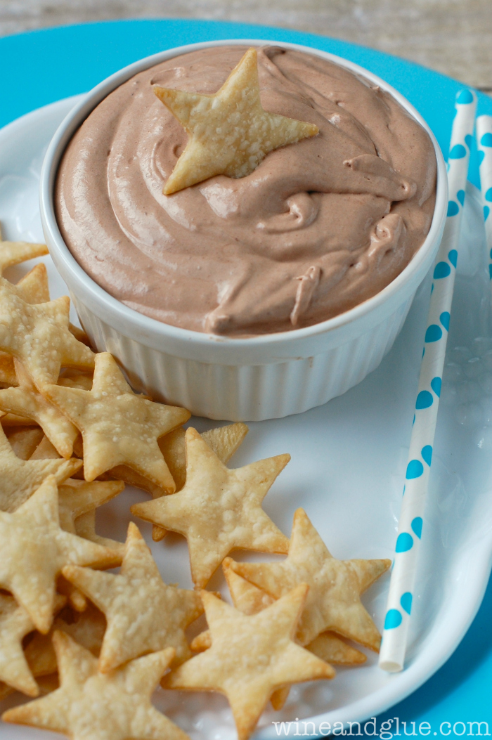Skinny Banana Nutella Dip with Pie Crust Star Dippers - Wine & Glue