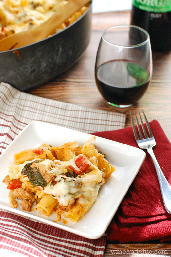 Baked Pasta with Sausage, Mushroom, and Spinach | www.winandglue.com ...