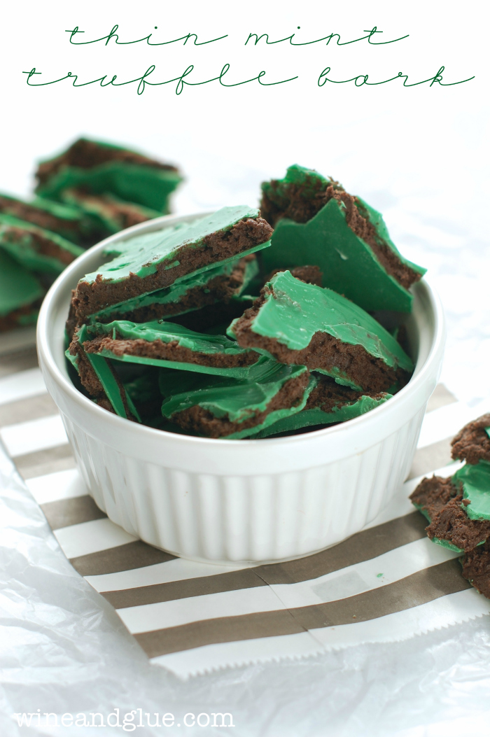 Thin Mint Truffle Bark   www.wineandglue.com   Your favorite Girl Scout Cookie in a delicious and irresistible treat!